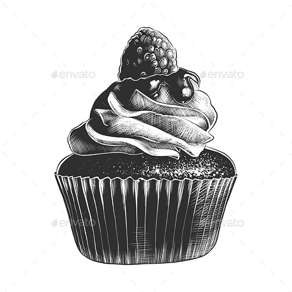 Hand Drawn Sketch of Cupcake - Food Objects