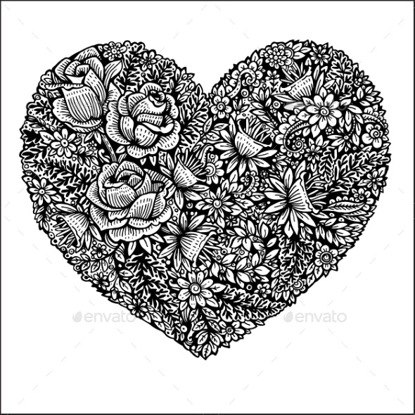 Heart Made of Leaves and Roses - Flowers & Plants Nature