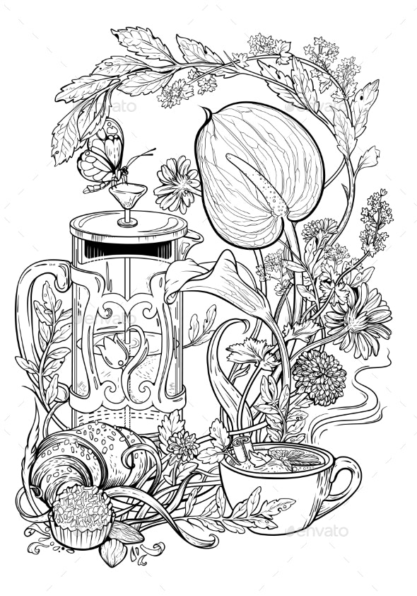 Drawing of Tea Croissant Flowers and Herbs - Flowers & Plants Nature
