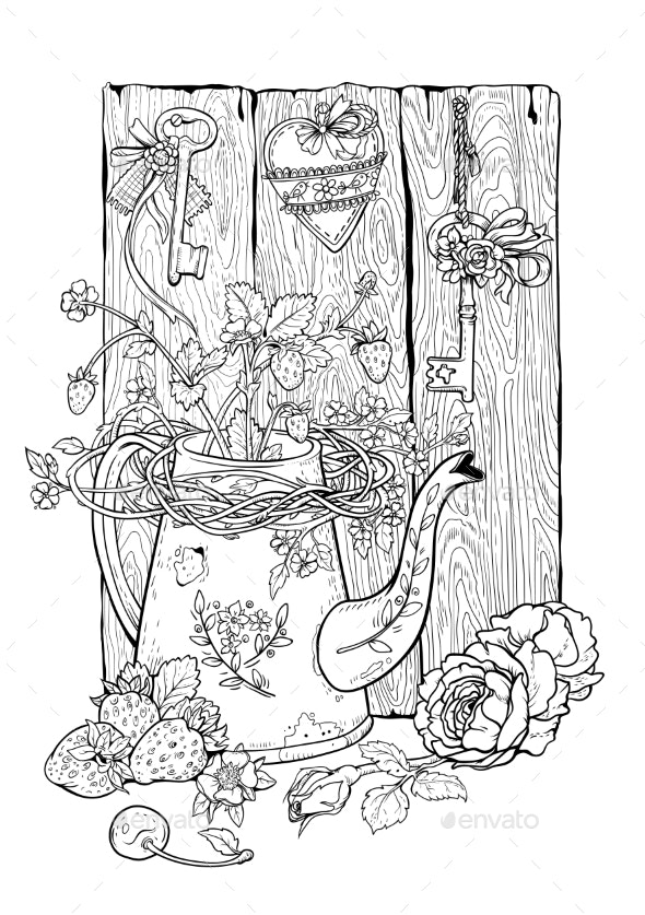Drawing of Flower Pot Berries and Flowers - Flowers & Plants Nature