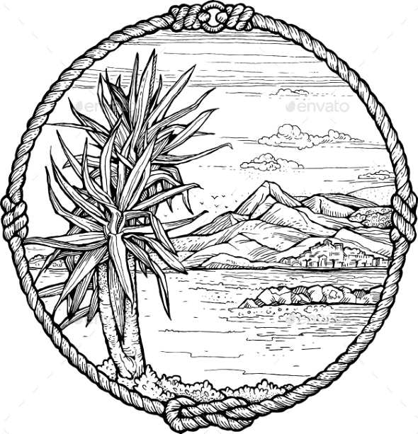 Framed Drawing of Mediterranean Coast with a Palm - Landscapes Nature