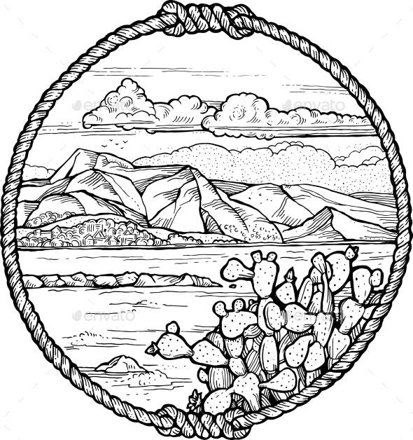 Framed Drawing of Mediterranean Coast - Landscapes Nature