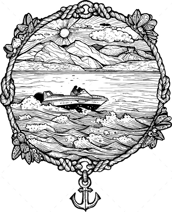 Framed Drawing of a Boat Rushing Through Waves - Landscapes Nature