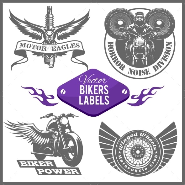 Motorcycle Vector Set with Vintage Custom Emblems - Miscellaneous Vectors