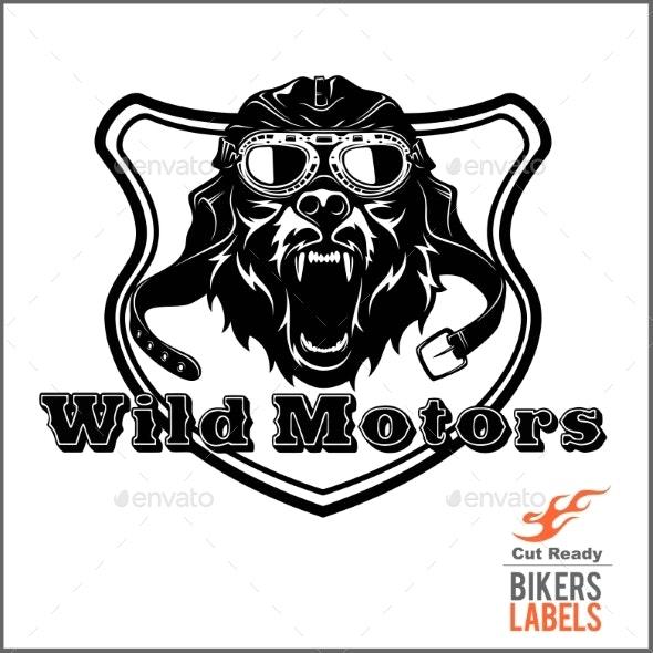 Wild Dog in a Motorcycle Helmet - Miscellaneous Vectors