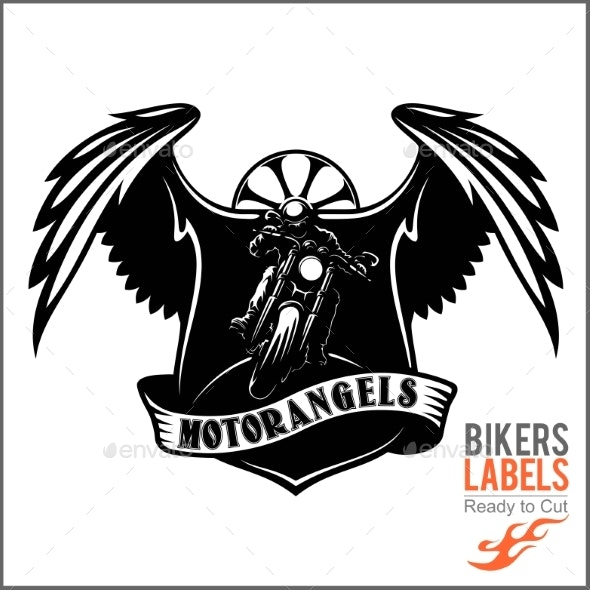 Wings and Motorcycle - Badge or Label With Biker - Miscellaneous Vectors