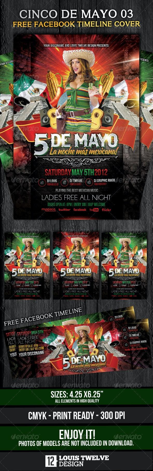 Cinco de Mayo 03 - Flyer Template + Fb Timeline - Clubs & Parties Events