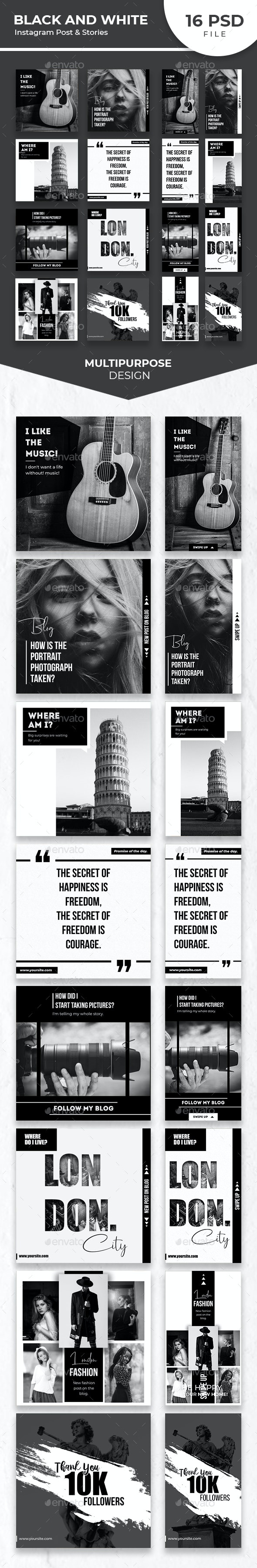 Black White Instagram Post and Stories - Social Media Web Elements