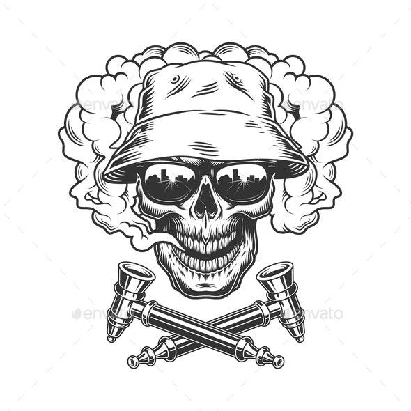 Skull Wearing Panama Hat and Sunglasses - Miscellaneous Vectors