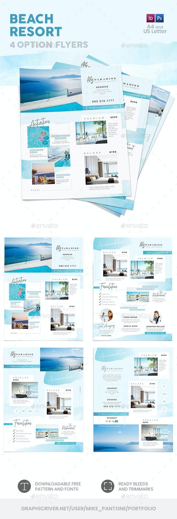 Beach Resort Flyers 3 – 4 Options - Commerce Flyers