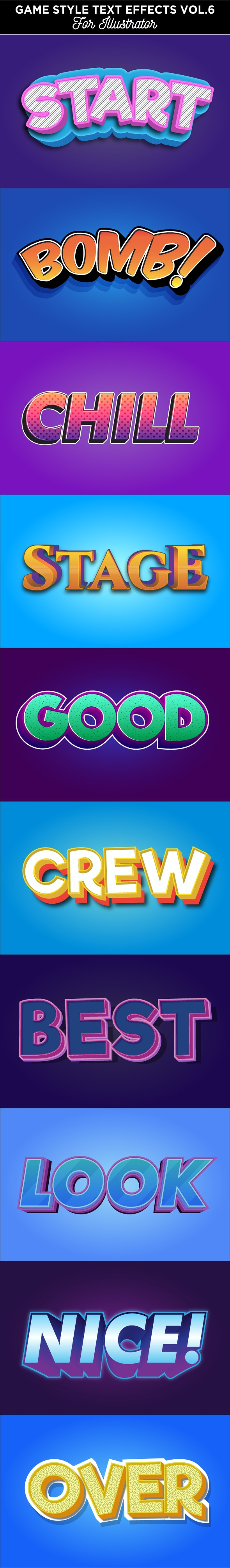 Game Style Text Effect for Illustrator - Styles Illustrator