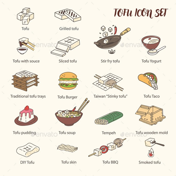 Cooking Tofu Icon Collection - Food Objects