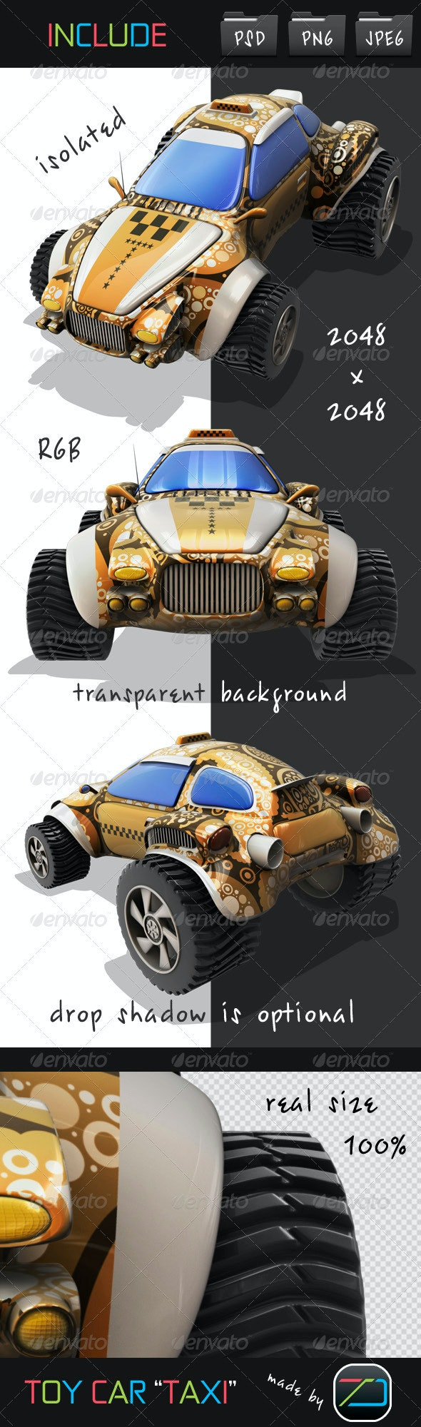 Toy Car TAXI - Objects 3D Renders