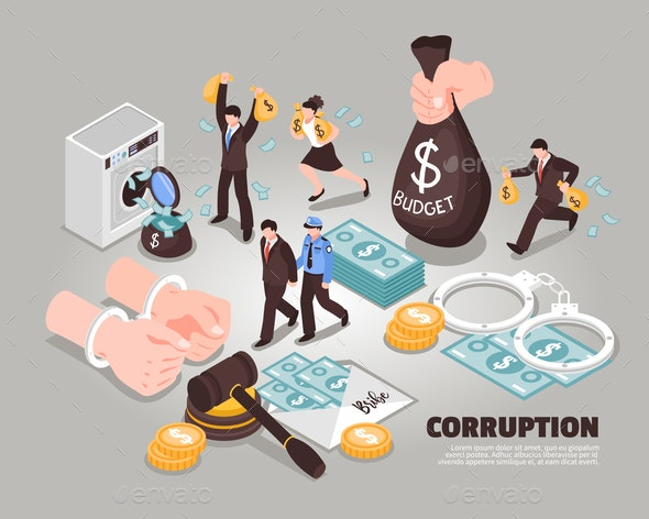 Corruption Isometric Vector Illustration - Concepts Business
