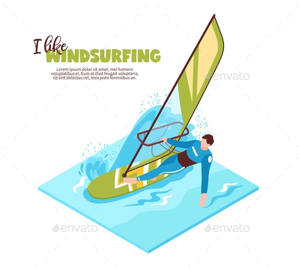 Windsurfing Isometric Vector Illustration - Sports/Activity Conceptual