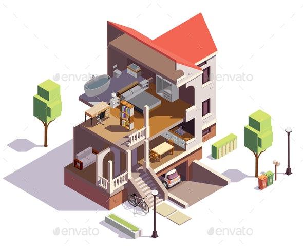 Suburbian Villa Profile Composition - Buildings Objects
