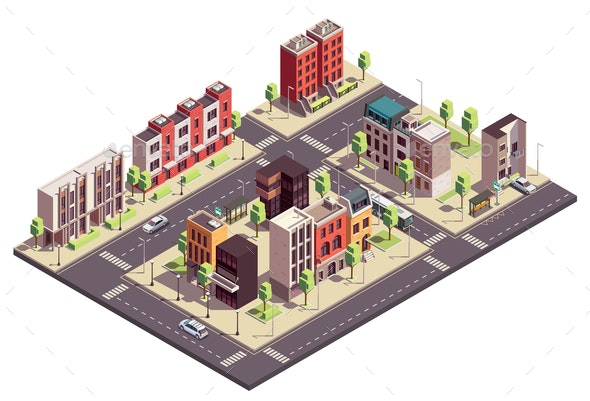 Isometric City Block Composition - Buildings Objects