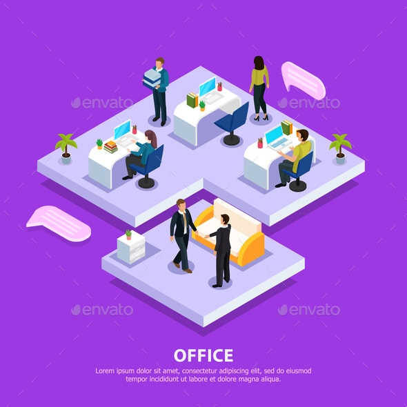 Office Isometric Illustration - Concepts Business