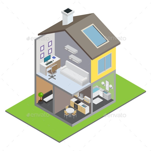 Townhouse Building Illustration - Buildings Objects