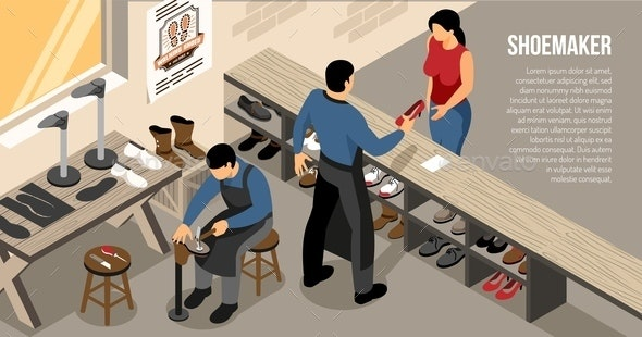 Shoe Work Shop Isometric Illustration - People Characters
