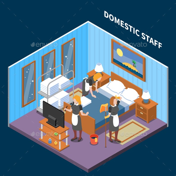 Household Staff Isometric Composition - Services Commercial / Shopping