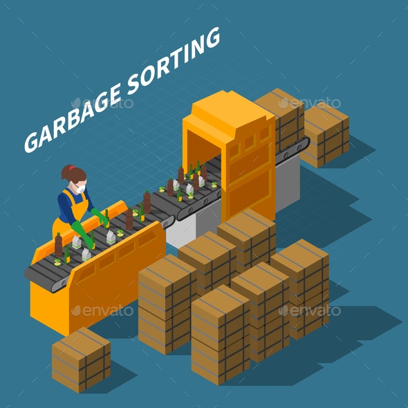 Garbage Sorting Conveyor Composition - Industries Business
