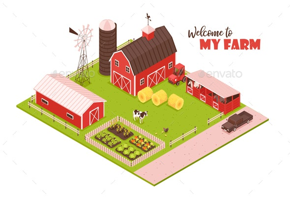 Isometric Farmsteading Landscape Composition - Buildings Objects