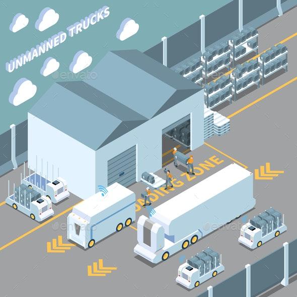 Autonomous Cars Isometric Composition - Miscellaneous Vectors