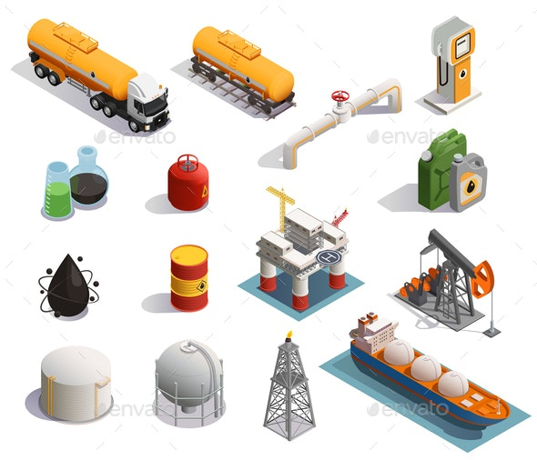 Oil Petroleum Isometric Icons - Industries Business