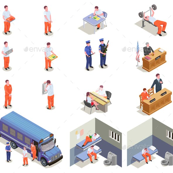 Prison Jail Isometric Icons