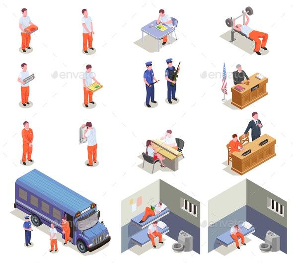 Prison Jail Isometric Icons - Miscellaneous Vectors