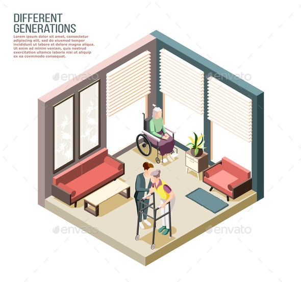 Different Generations Isometric Composition - People Characters