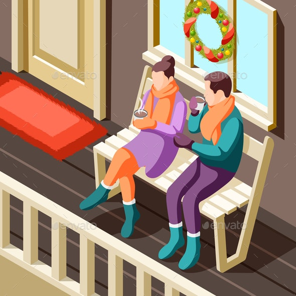 Cozy Winter Isometric Background - People Characters