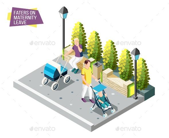 Fathers on Maternity Leave Design Concept - Miscellaneous Vectors