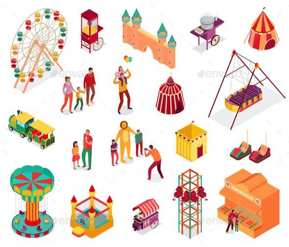 Amusement Park Isometric Set - Industries Business