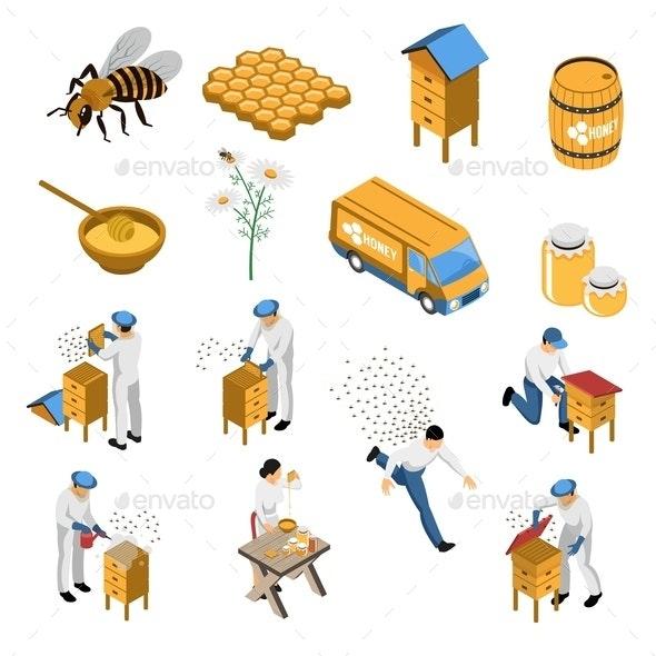 Beekeeper Honey Isometric Set - Animals Characters
