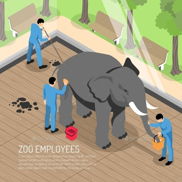Zoo Workers Isometric Illustration - Animals Characters