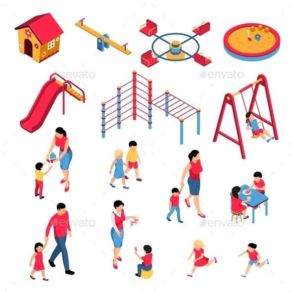 Kindergarten Isometric Set - People Characters