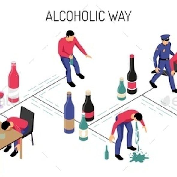 Alcoholism Isometric Horizontal Illustration