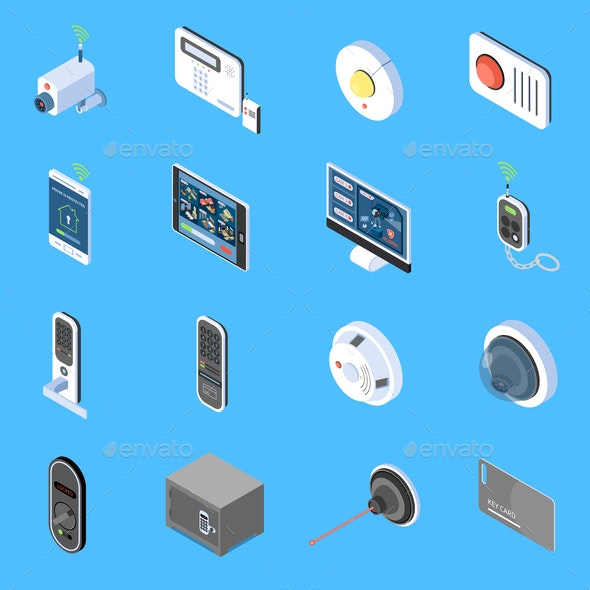 Home Security Isometric Icons - Miscellaneous Vectors