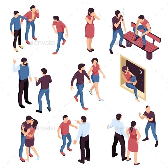 Teenagers Problems Isometric Set - People Characters