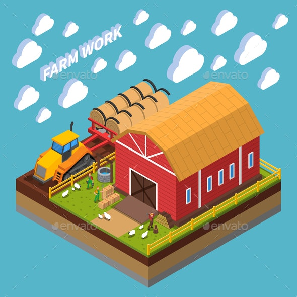 Farm Work Isometric Composition - Buildings Objects