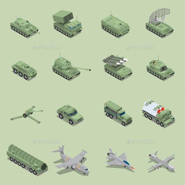 Military Vehicles Isometric Set