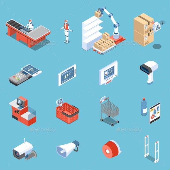 Supermarket of Future Isometric Icons