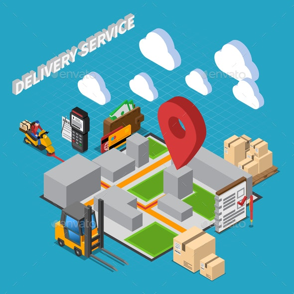 Delivery Service Isometric Composition - Services Commercial / Shopping