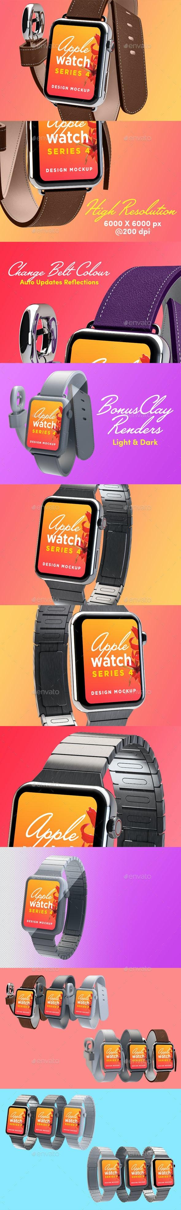 Apple Watch Design Mockup - Displays Product Mock-Ups