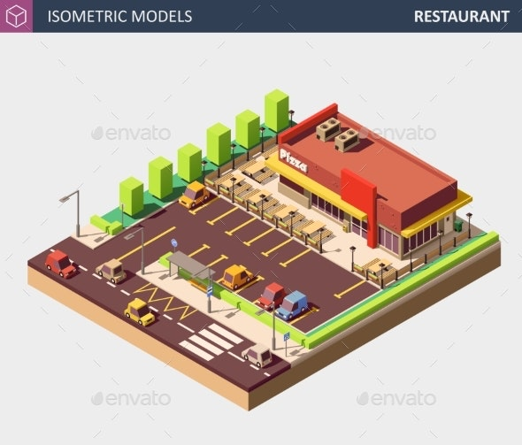 Vector Isometric Restaurant or Pizzerie Building - Buildings Objects