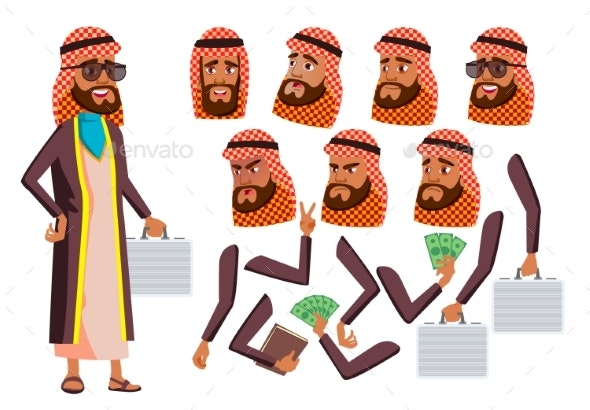 Arab, Muslim Old Man Vector. Senior. Aged, Elderly - People Characters