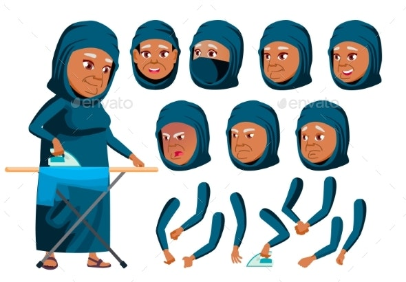 Arab, Muslim Old Woman Vector. Senior Person. Aged - People Characters