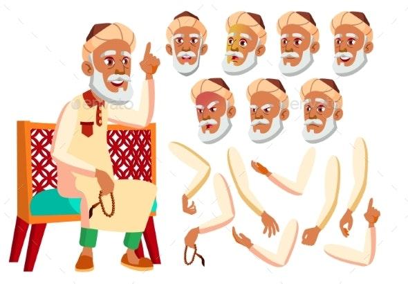 Arab, Muslim Old Man Vector. Senior. Aged, Elderly - People Characters